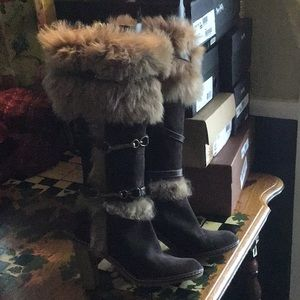 Coach Jessica Fur Boots Size 7